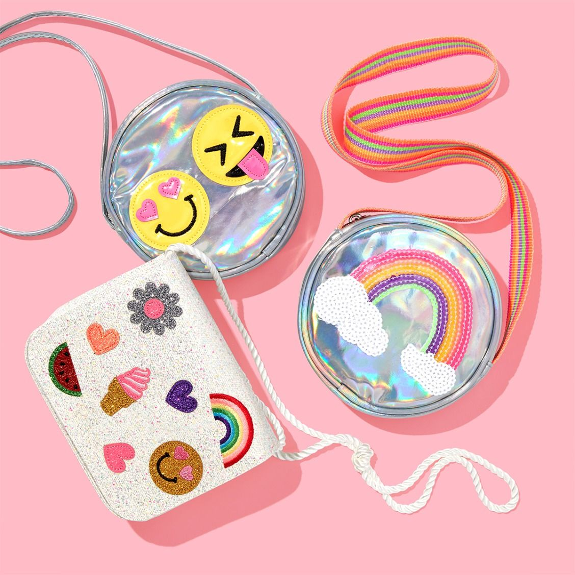 46f7c4105268 Girls' fashion | Kids' accessories | Purse | Emoji patches | Sequin |  Rainbow