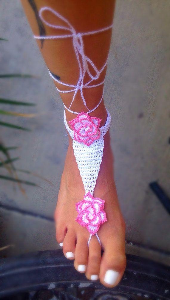 Barefoot Sandals NoSo Rose | Crochet | Pinterest | Häkeln, Schuhe ...