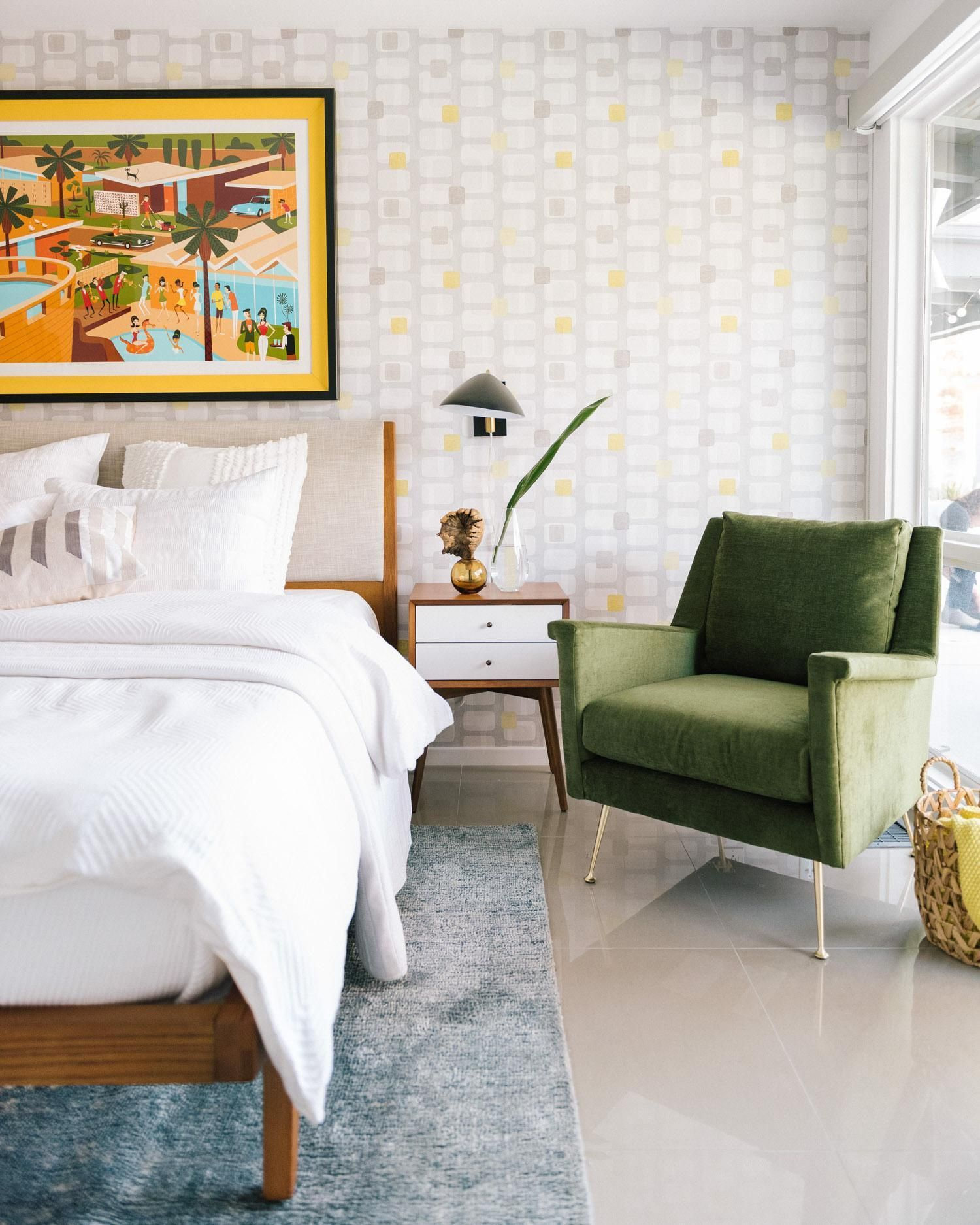 Mid Century Style Modern Bedroom In Palm Springs Designed By