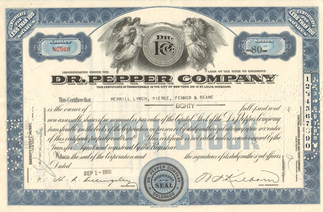 Dr pepper company stock certificate 1950 vintage stock dr pepper company stock certificate 1950 1betcityfo Choice Image