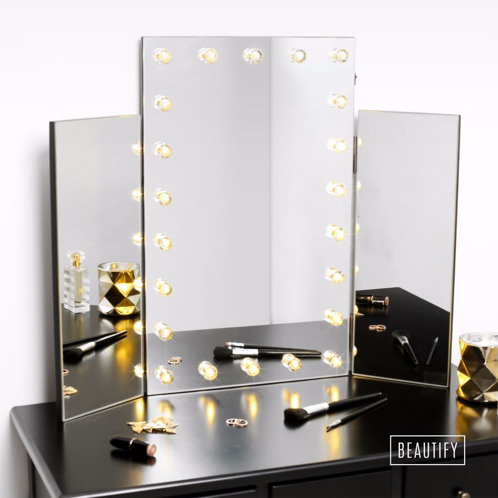 Beautify Large Trifold Hollywood Makeup Dressing Table Vanity Mirror Led Lights Dressing Table Vanity Mirror Dressing Table Vanity Diy Vanity Mirror
