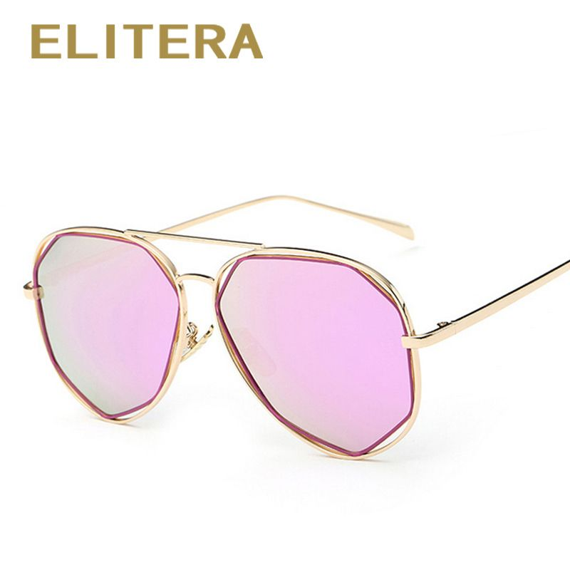 a837f2a10e ELITERA Fashion Women Sunglasses Classic Brand Designer Twin-Beams Coating  Mirror Flat Panel Lens Summer