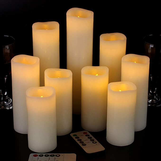 Amazon Com Vickiss Flameless Candles Battery Operated Candles 4 5 6 7 8 9 Set Of 9 Ivory Real Wa Flameless Candles Fake Candles Battery Operated Candles Fake candles that look real