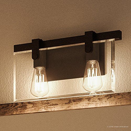 Luxury Modern Farmhouse Bathroom Vanity Light, Medium Size 8.38 H x 14.875 W, with Industrial Chic Style Elements, Olde Bronze Finish, UHP2452 from The Bristol Collection by Urban Ambiance#ambiance #bathroom #bristol #bronze #chic #collection #elements #farmhouse #finish #industrial #light #luxury #medium #modern #olde #size #style #uhp2452 #urban #vanity
