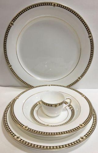 Syracuse Baroque Bone China 5 Pc. Dinnerware Black \u0026 Gold Band & Syracuse Baroque Bone China 5 Pc. Dinnerware Black \u0026 Gold Band ...