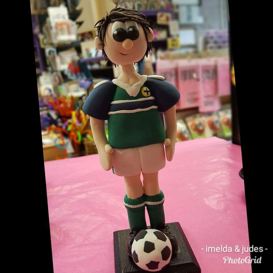 Footballer made from our own light weight air drying clay