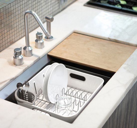The Simplehuman Compact Dishrack Is Small Enough To Fit In Standard Sinks  But Still Can Handle Large Plates. The Swivel Spout Rotates To Drain Water  ...
