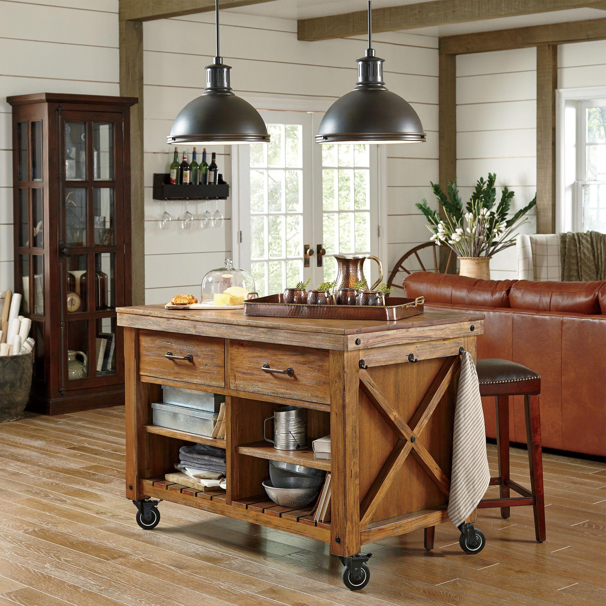 Vargas Kitchen Cart | Rustic kitchen island, Portable ...