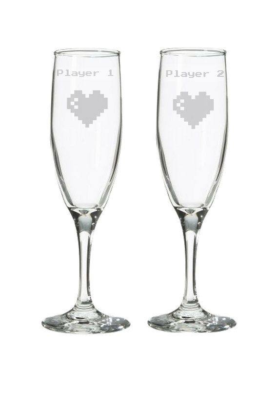 Player 1 2 Geeky Wedding Retro 8 Bit Champagne Flutes Gaming Toasting Glasses
