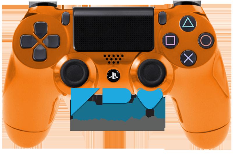 Custom Orange Chrome PS4 Controller