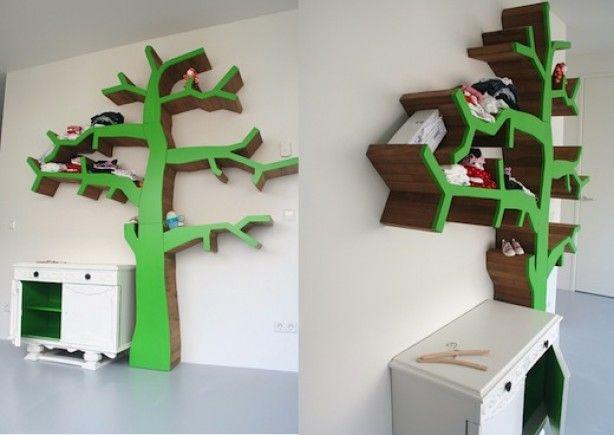 Kinderkamer Houten Boom : Originele kastruimte als boom voor op de kinderkamer. ideeën voor