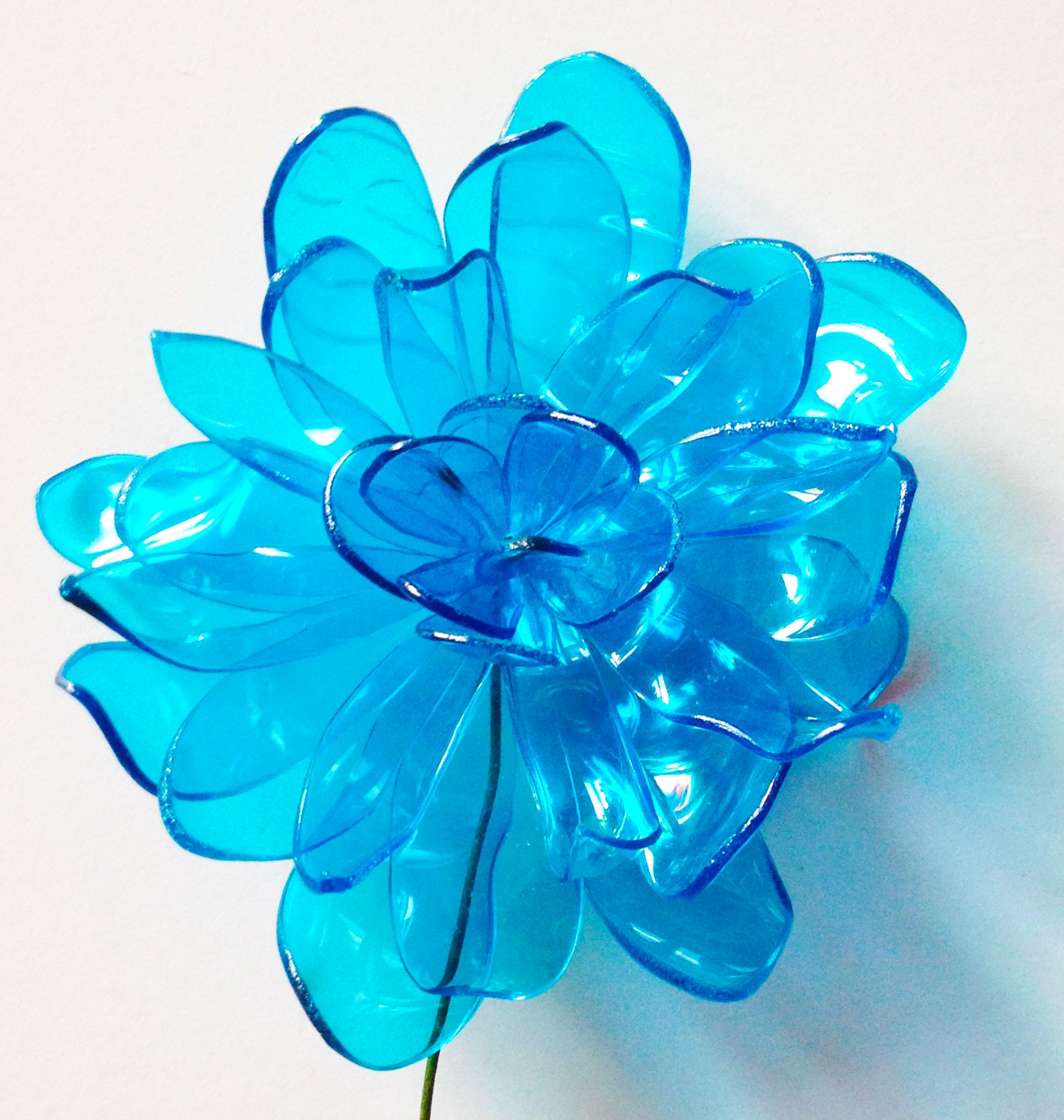 Blue Plastic Bottle Flower Plastic Flowers