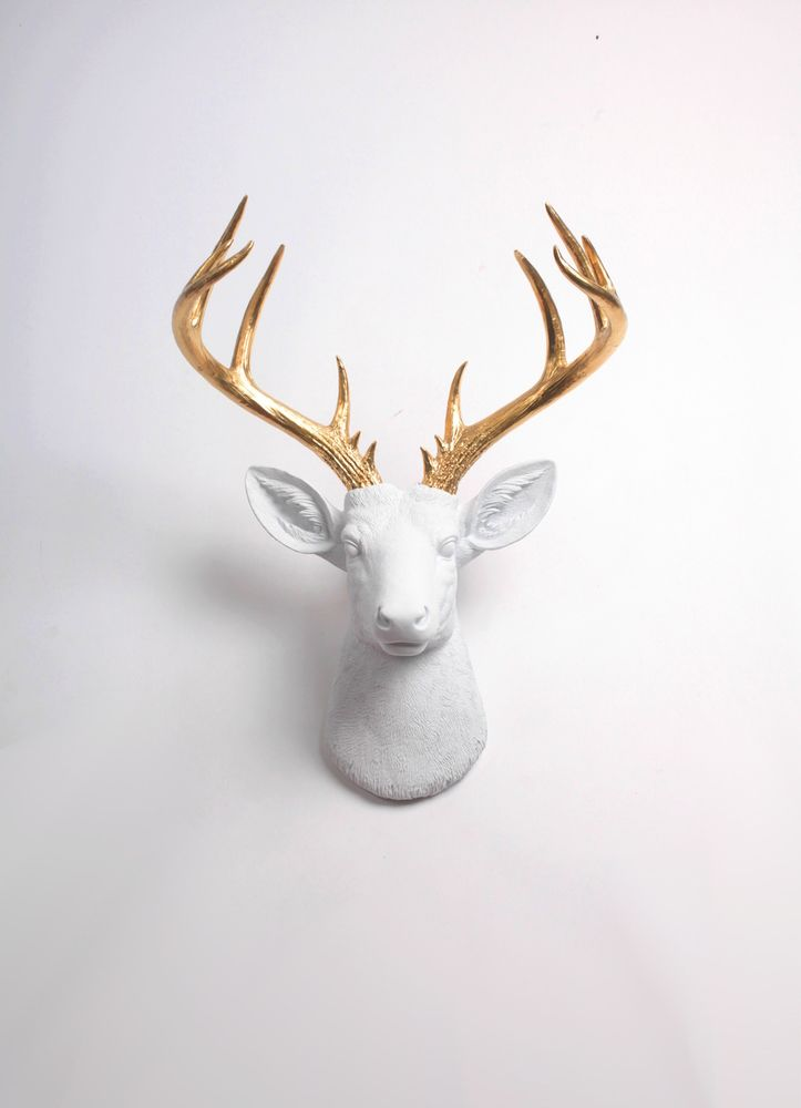 The Xl Alfred White Faux Deer Head Taxidermy W Gold Antlers Wall Mount
