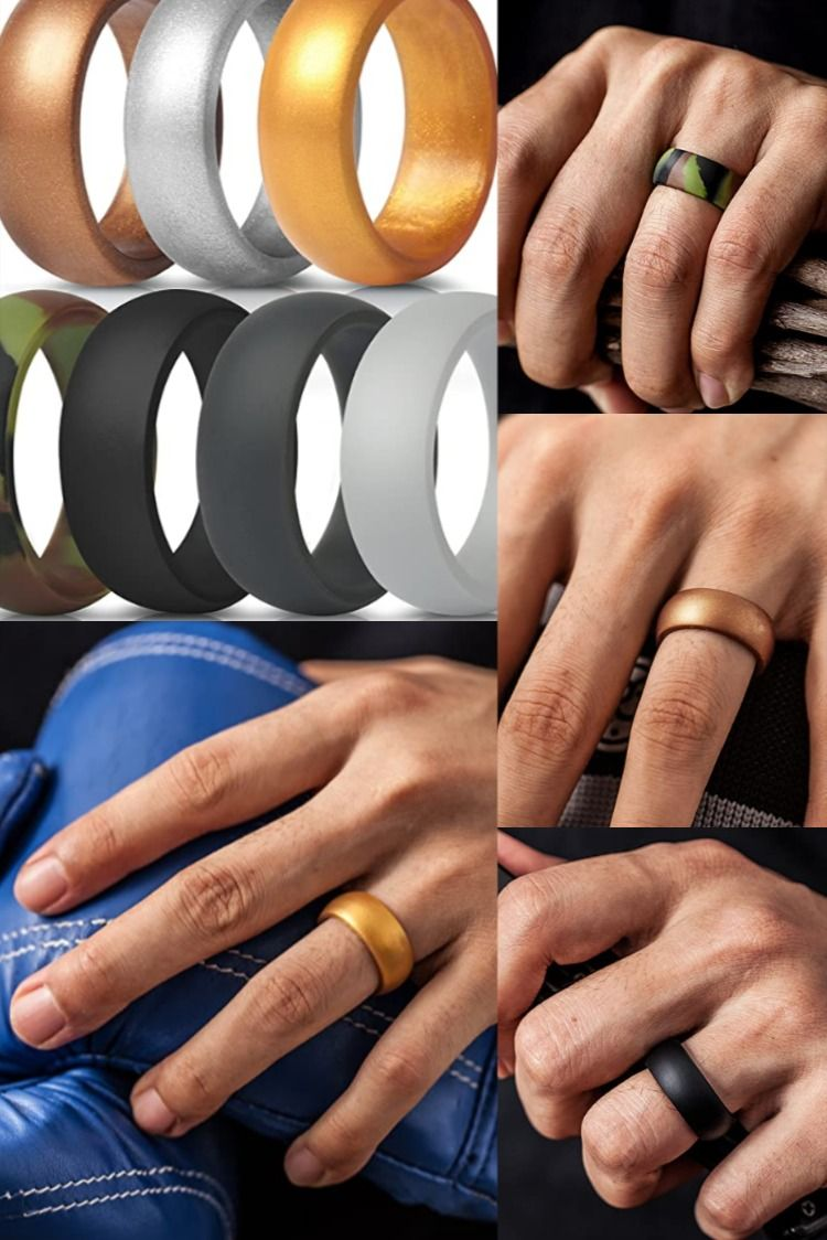 Thunderfit Silicone Rings 7 Rings 4 Rings 1 Ring Wedding Bands For Men 8 7 Mm Wide 2 5mm Thic In 2020 Mens Fashion Essentials Mens Accessories Fashion Diy For Men
