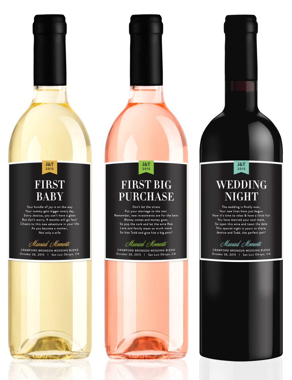 Wedding Milestone Wine Labels Fun Wedding Gifts Engagement Gift