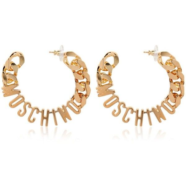 d8884235ff1 MOSCHINO Logo Lettering Hoop Earrings (15,215 PHP) ❤ liked on Polyvore  featuring jewelry, earrings, gold, logo earrings, moschino, gold tone  jewelry, ...