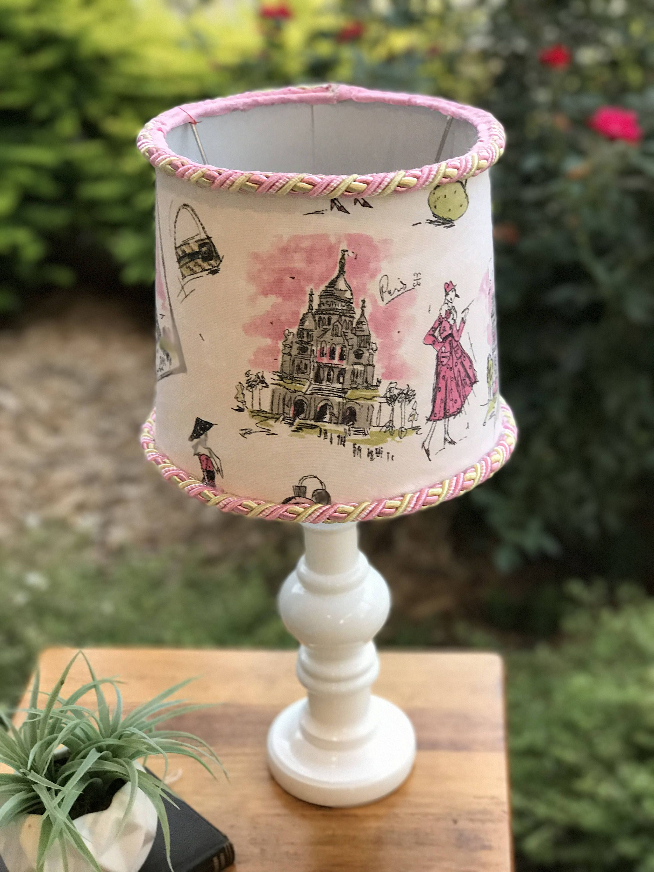 20 Tall Lamp Paris Lampshade Themed Pink And Green Eiffel Tower Parisian Bedroom S By