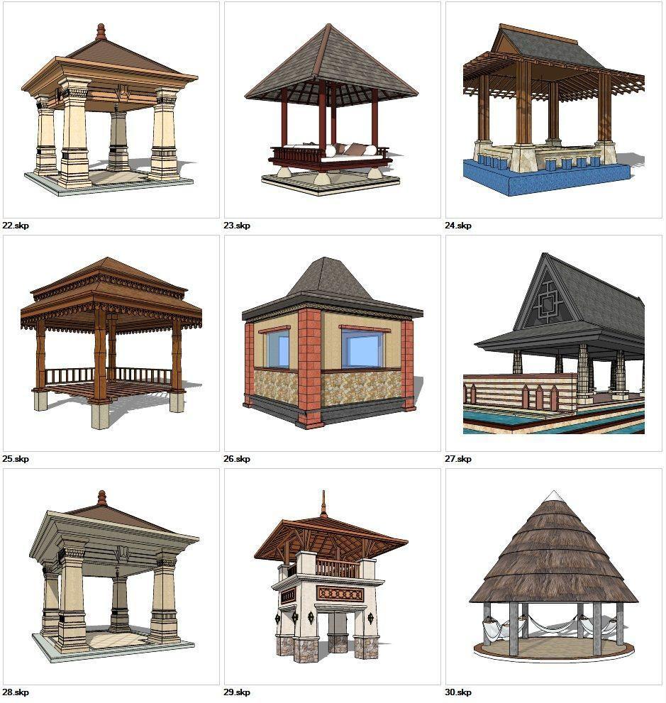 Sketchup 3d Models 9 Types Of Asia Style Pavilion Design Sketchup Models V 3 Sketchupfurnitureplans Pavilion Design Architecture Architecture Design