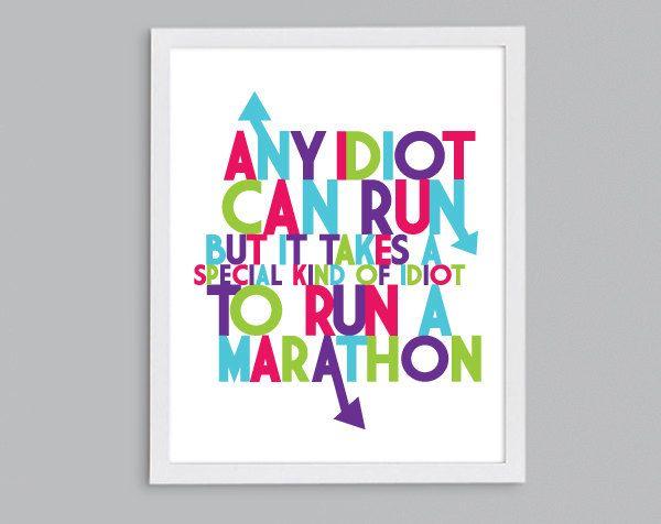 Marathon Idiot Running Quote Art Poster por StephLawsonDesign