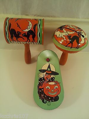 3 vintage halloween noise makers rattles ratchets tin litho paint t conn u s a ebay