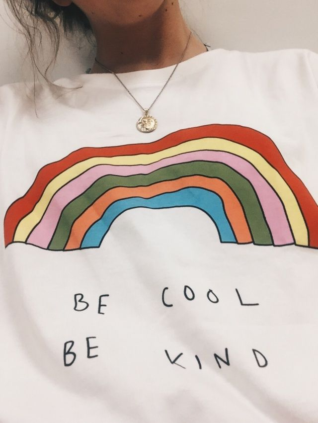 ef236a28 ❤️be cool be kind rainbow graphic tee | graphic tees in 2019 ...
