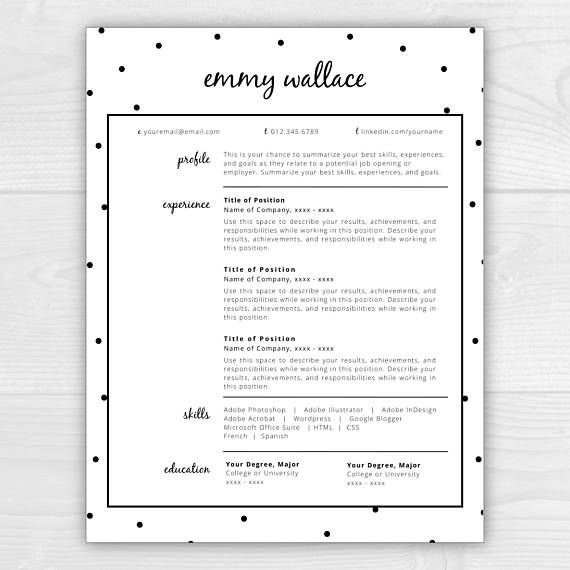 Resume Template Instant Download Cv Template Resume  Cv