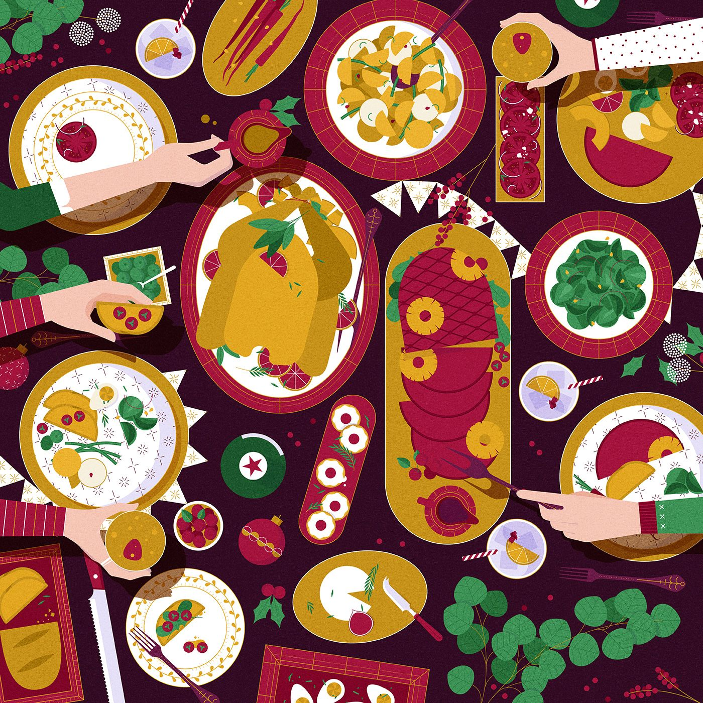 Muti A Different View Feast Food Illustrations Restaurant Icon