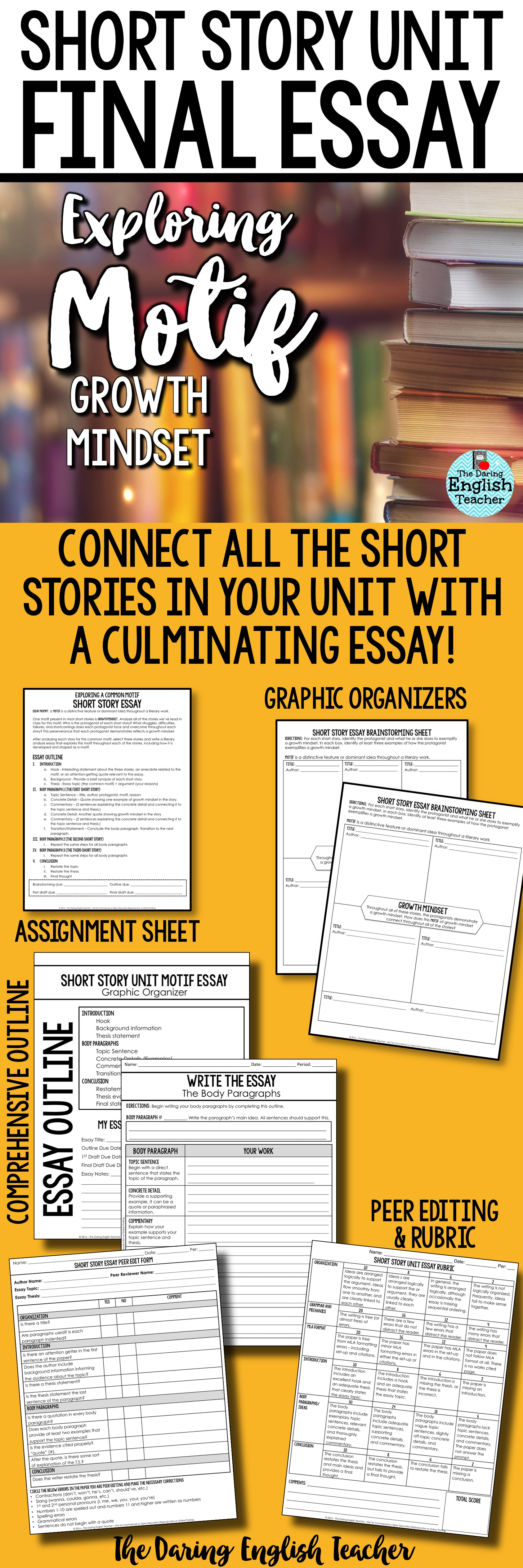 Explore And Cultivate A Growth Mindset In Your Secondary English Classroom  With This Short Story Essay