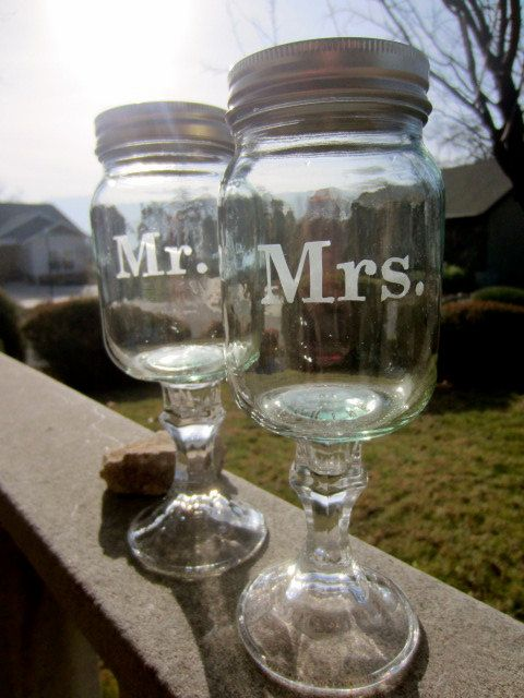 Mason Jar Goblets Set Mr and Mrs