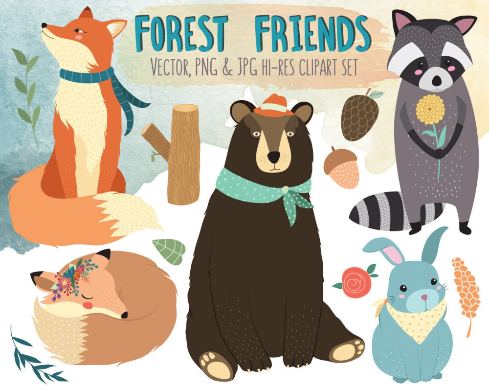 Forest Friends Clipart Woodland Animals Clip Art Vector Etsy Clip Art Tribal Animals Forest Friends