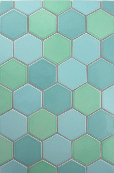 Bedford Concept 13   3X3 Hex In Melon, Seafoam And Tranquility. Ceramic  Tile From