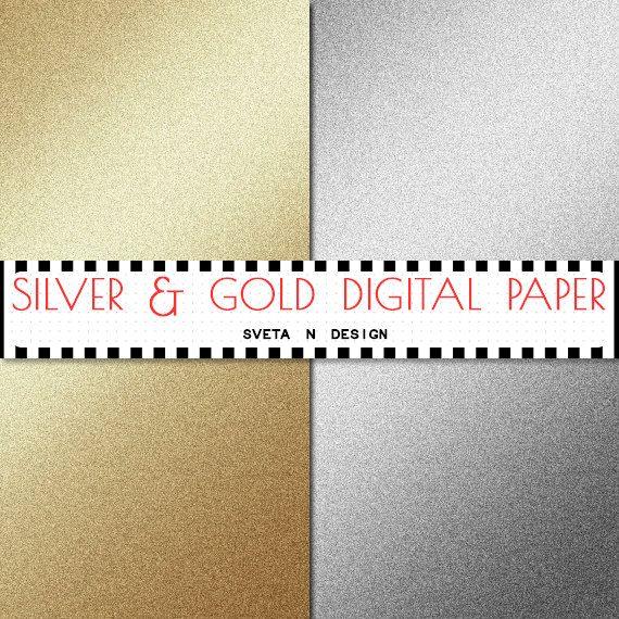 Glitter Digital Paper Silver and Gold Glitter Gradient