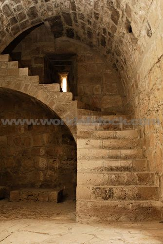 stock photo titled stone staircase and arched ceiling interior of medieval castle kolossi in. Black Bedroom Furniture Sets. Home Design Ideas