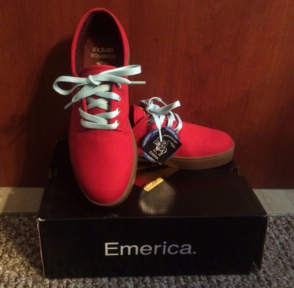 Skate shoes size 9 - Emerica Laced By Leo Romero Red Brown Mens Skate Shoes Sneakers Size 9