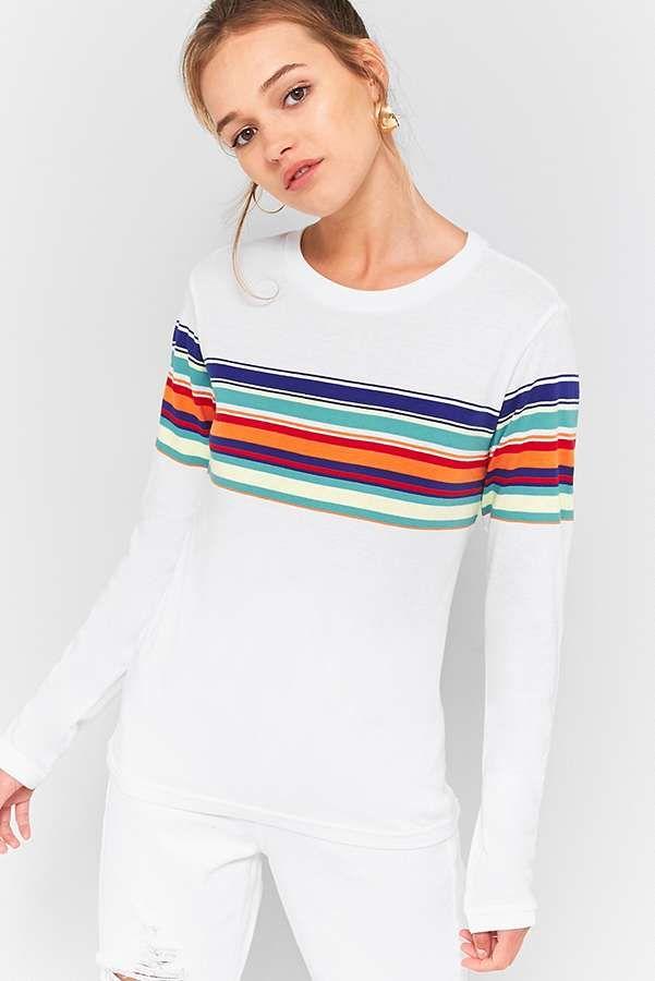7e74b2730f27f5 Slide View  3  BDG Orange Rainbow Striped Long Sleeve T-Shirt