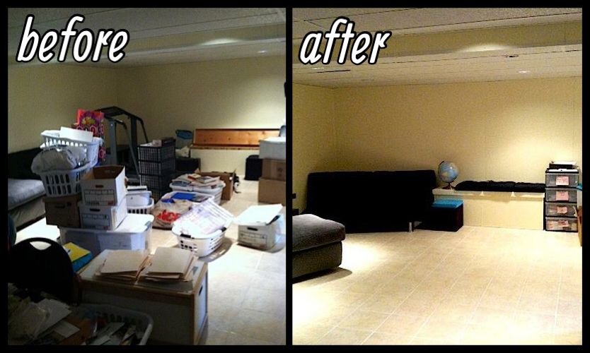 Messy Basement To Relaxing Living Space Living Spaces Corner Desk Home Decor