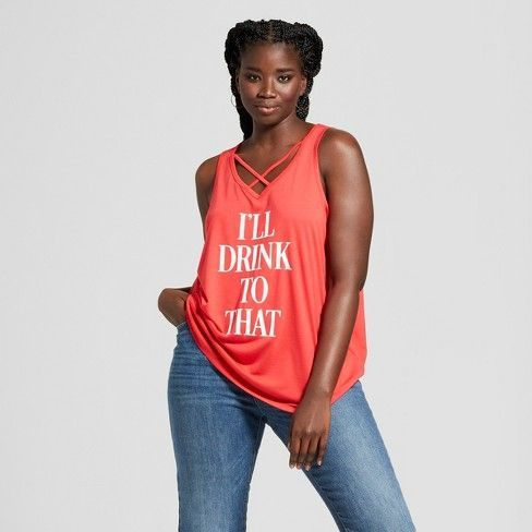 578dd78c710 Women s Plus Size I ll Drink to That Criss-Cross Graphic Tank Top - Grayson  Threads Red   Target -  T-shirt  affiliate