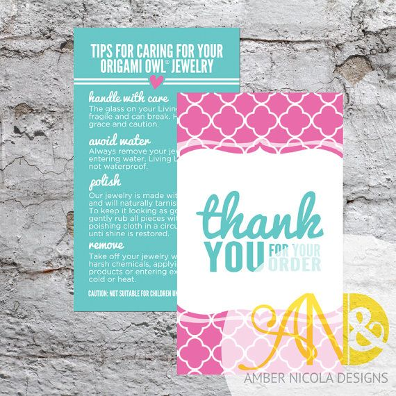 Great packaging idea origami owl inspired thank you and jewelry origami owl inspired thank you and jewelry care combo card digital download for print on vistaprint or other print shops reheart Choice Image