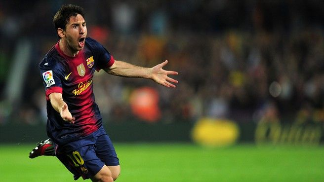 messi celebrating scoring against real madrid in 2012
