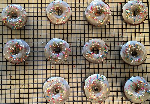 Baked Chocolate Doughnuts with Vanilla Glaze : Nosh With Me