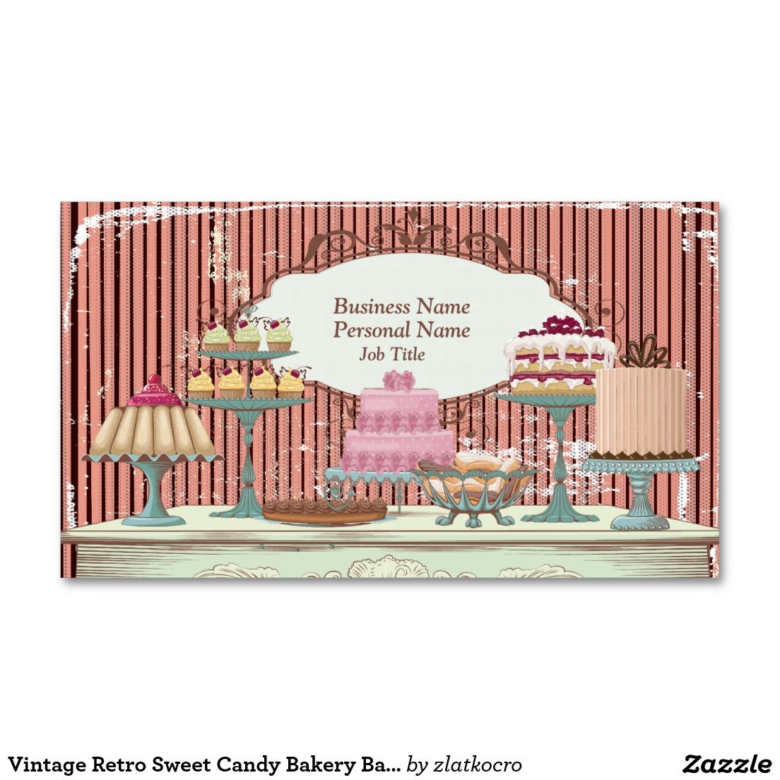 Vintage Retro Sweet Candy Bakery Bar Profile Card Double-Sided ...