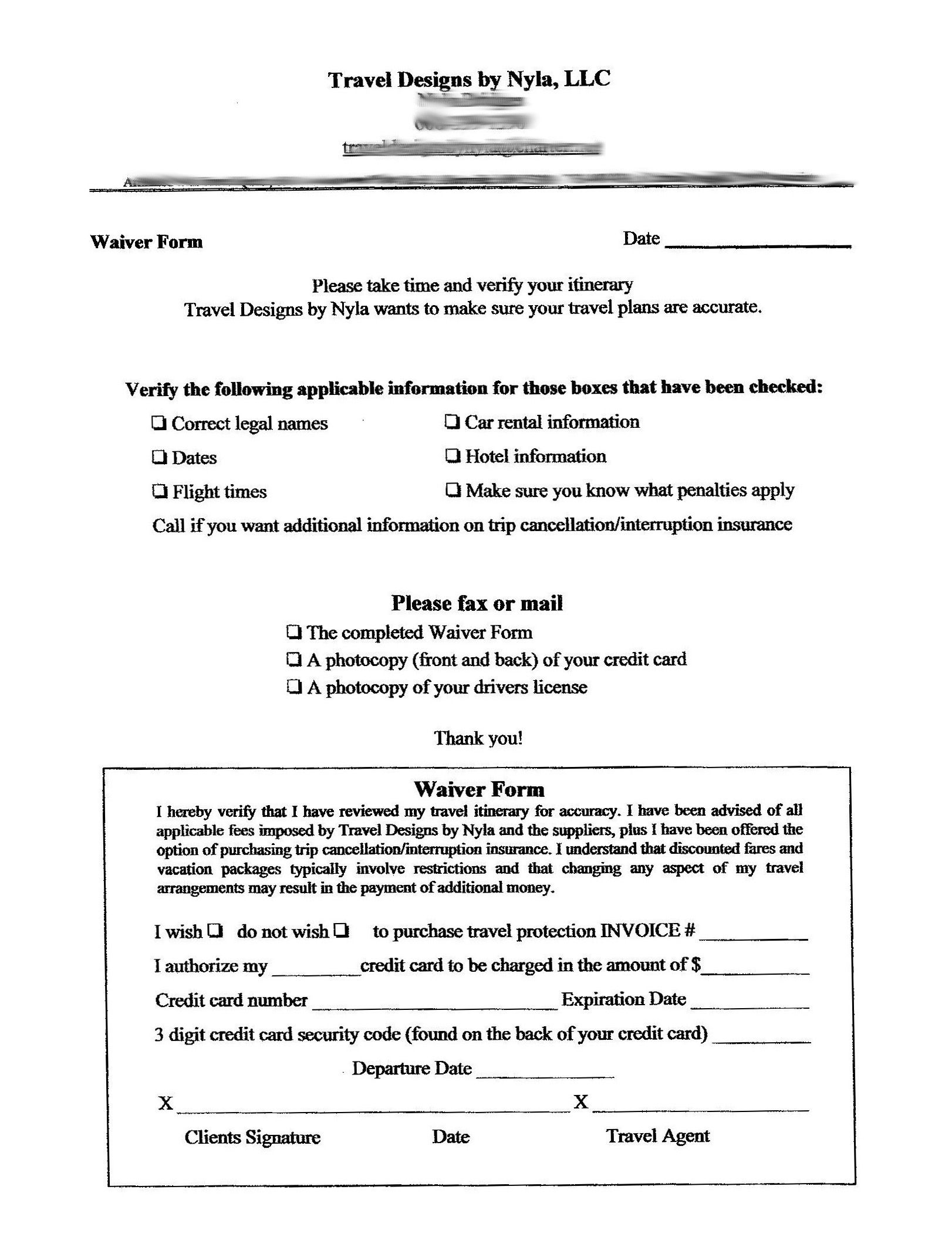 Sample Waiver Free Printable Documents Letter Templates Free Traveling By Yourself Memo Template