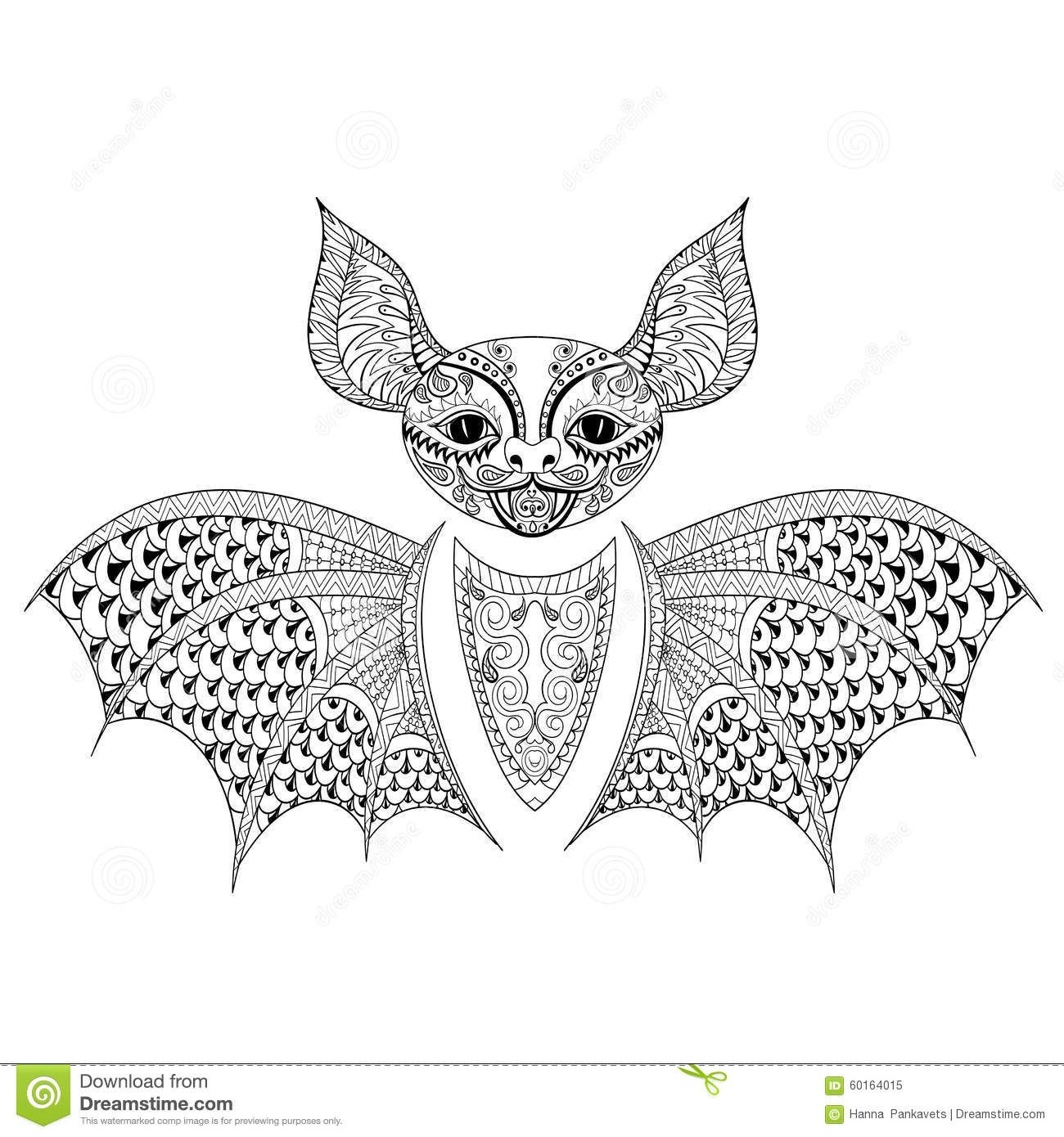 zentangle-bat-totem-adult-anti-stress-coloring-page-art-therapy ...