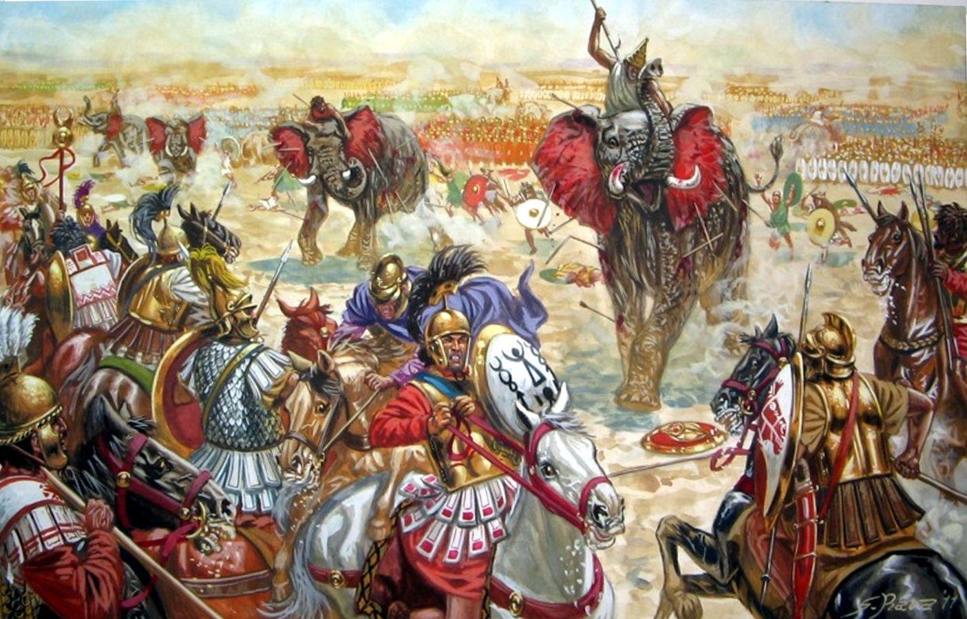 Zama, los romanos ahuyentan a los elefantes que cargan despavoridos contra las líneas cartaginesas - G. Rava Más en www.elgrancapitan.org/foro