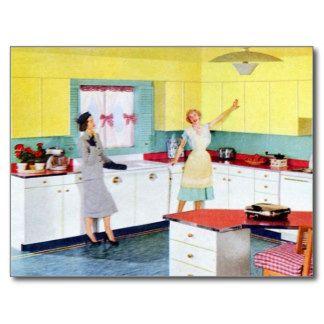 Amas De Casa Retras En Cocina Postal Ama De Casa Retro Cocinas