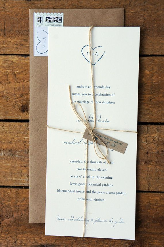 Letter Press invitation, if possible. Accented with twine or burlap ...