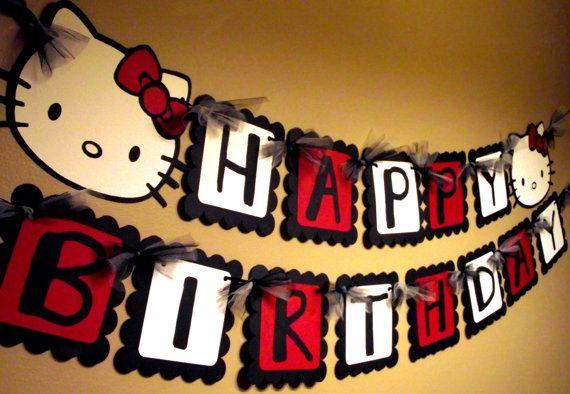 CUTE Hello Kitty Happy Birthday Banner