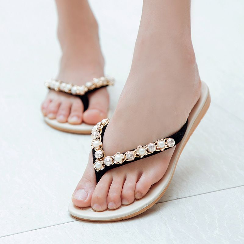 Summer Pearl Slippers Women Slide Sandals Soft Flats Beach Platform Shoes