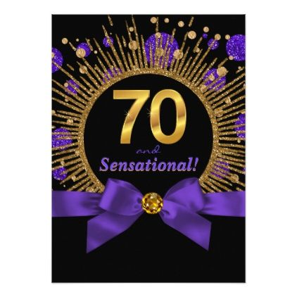 Womans 70th Birthday Party Purple And Gold Card