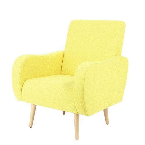 Sillón vintage de tela amarillo antiguo Habitaciones bebe - sillones para habitaciones